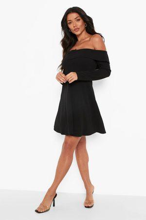 Boohoo Off The Shoulder Skater Skirt Blazer Dress