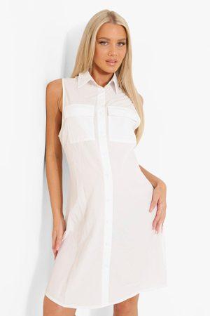 Boohoo Maternity Sleeveless Cotton Shirt Dress