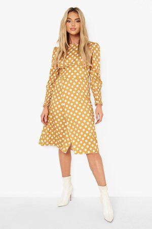 Boohoo Polka Dot Side Split Midi Dress
