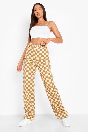 Boohoo Tall Checkerboard Printed Boyfriend Jeans