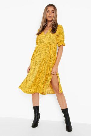 Boohoo Polka Dot Side Spit Midi Dress