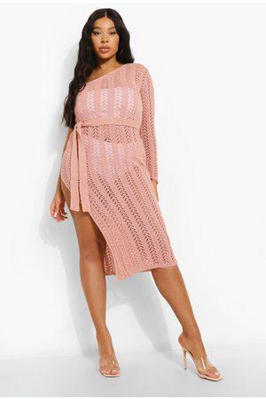 Boohoo Plus Shimmer Knitted Beach Shoulder Dress