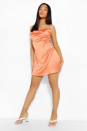 Boohoo Petite Satin Chain Lace Up Mini Dress