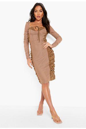 Boohoo Ruched Mesh Detail Midi Dress