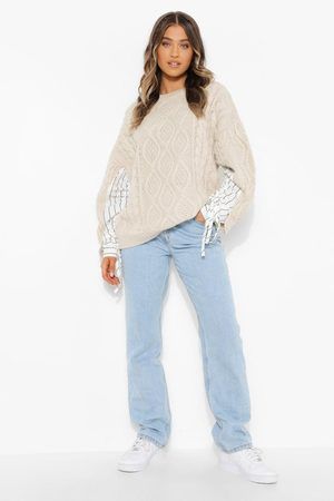 Boohoo Cable Knit Jumper With Shirt Sleeve Detail