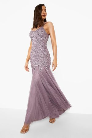 Boohoo Bridesmaid Embellished Godet Mesh Maxi Dress
