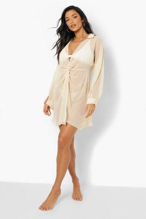 Boohoo Twist Front Beach Dress