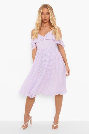 Boohoo Cold Shoulder Ruffle Midi Bridesmaid Dress