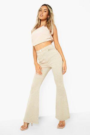 Boohoo High Waist Stretch Denim Flared Jean