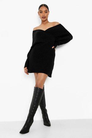Boohoo Off The Shoulder Rib Knit Jumper Dress