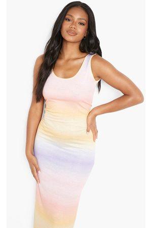 Boohoo Petite Scoop Neck Ombre Print Maxi Dress