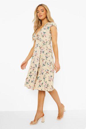 Boohoo Floral Print Wrap Dress