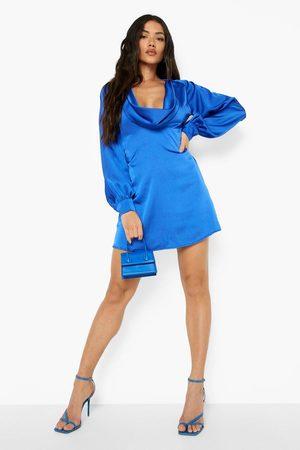 Boohoo Satin Cowl Neck Cut Out Mini Dress