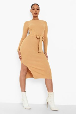 Boohoo Fine Rib Knit Tie Front Midi Dress