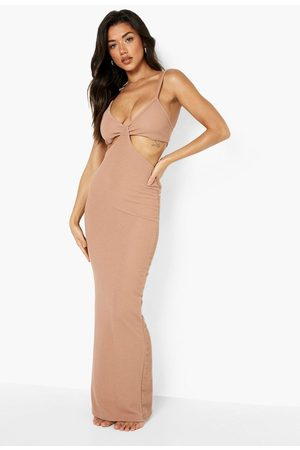 Boohoo Crinkle Knot Front Beach Maxi Dress