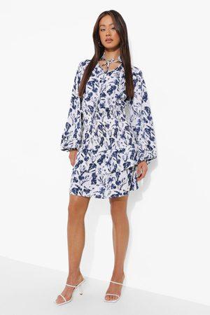 Boohoo Tall Floral Tie Neck Shirred Mini Dress