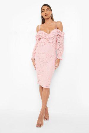 Boohoo Lace Ruffle Midi Bridesmaids Dress