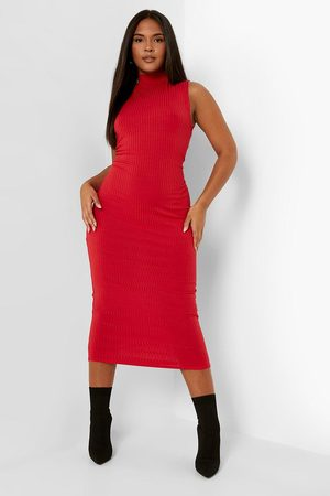 Boohoo Plus Jumbo Rib High Neck Midi Dress
