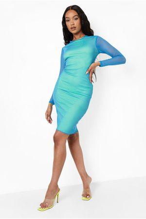 Boohoo Contrast Mesh Long Sleeve Midi Dress