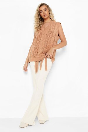 Boohoo Chunky Lace Up Cable Knit Tank
