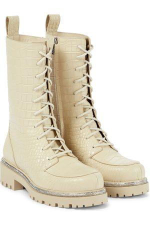 RENE CAOVILLA Croc-effect leather combat boots