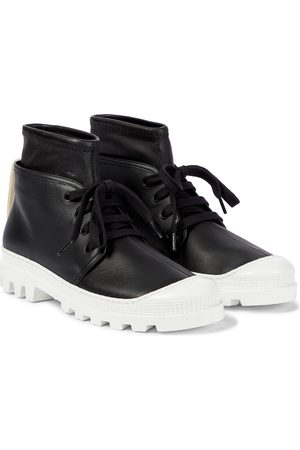LOEWE Layered leather combat boots