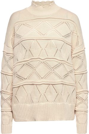 Coster Copenhagen Pointelle Sweater In Seawool Strikket Genser Creme