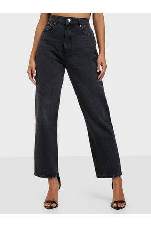Gina Tricot Dame Straight - Unni Cropped Jeans Washed Black