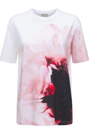 Alexander McQueen Pink Paper Flower Cotton T-shirt