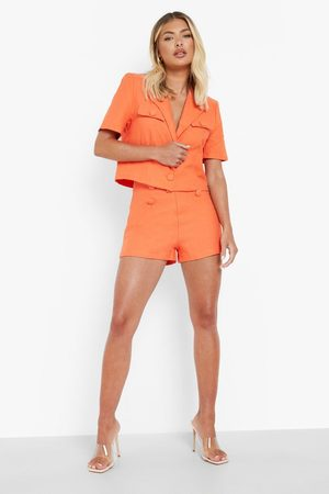 Boohoo Textured Button Detail Tailored Shorts
