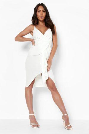 Boohoo Strappy Twist Drape Midi Dress