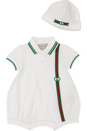 Gucci Baby stretch-cotton piqué romper and hat set