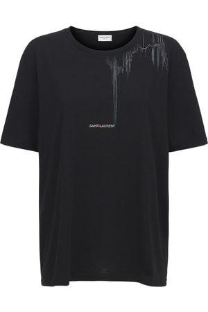 Saint Laurent Dame Kortermede - Cotton Crewneck T-shirt