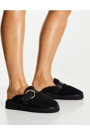 ASOS Dame Loafers - Manzo borg flat mules in black