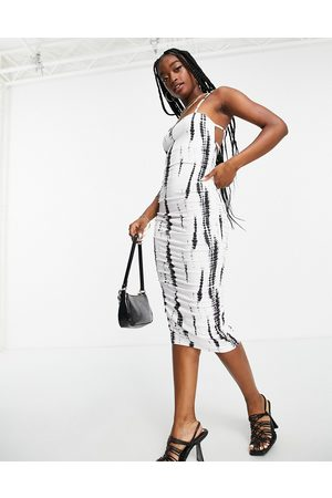 ASOS Dame Mønstrede kjoler - Square neck ruched double strap midi dress in mono print-Multi