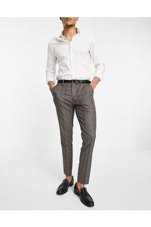 SELECTED Herre Smale bukser - Suit trouser in skinny fit brown check