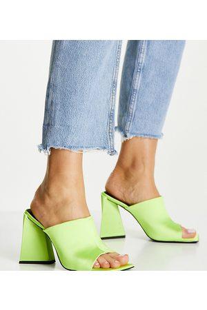 ASOS Dame Høyhælte sandaler - Wide Fit Nyla heeled mules in lime-Green