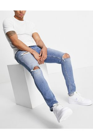 ASOS Herre Skinny - Skinny jeans in 'less thirsty' light blue wash with rips