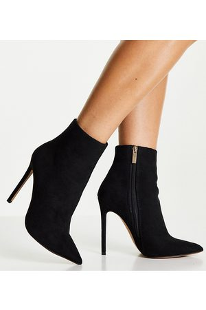 ASOS Dame Skoletter - Wide Fit Emerald high heeled sock boots in black micro