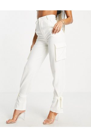 Missyempire Exclusive cargo pocket detail trouser co ord with tie hem in cream-Neutral