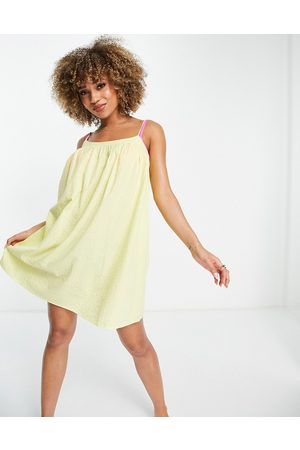ASOS Dame Strandkjoler - Seersucker bow back beach mini dress in yellow