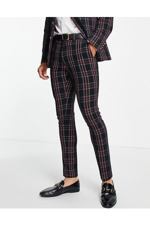 ASOS DESIGN Skinny suit trousers in green tartan check with gold button