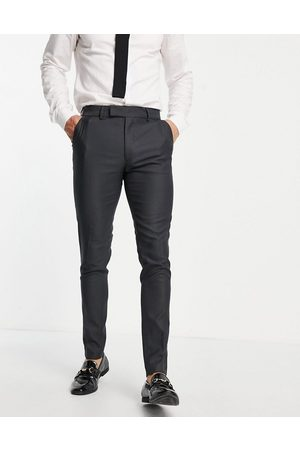 ASOS DESIGN Smart oxford skinny suit trousers in mid grey