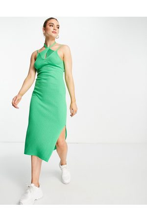 ASOS DESIGN Knitted midi dress with cut out detail in green