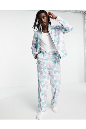 ASOS DESIGN Herre Slengbukser - Co-ord smart wide leg trousers with palm print in pastel blue