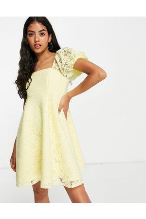 Miss Selfridge Lace puff sleeve mini dress in yellow