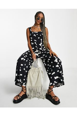 ASOS Square neck dungaree in abstract square print-Multi