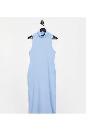 I Saw It First Curve Dame Bodycon kjoler - I Saw It First Plus high neck midi bodycon dress in blue