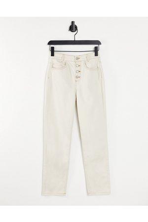 MANGO Dame High waist - Mom jean with contrast stitching in ecru-White