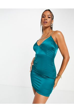NaaNaa Dame Selskapskjoler - Plunge neck satin mini dress in teal-Green